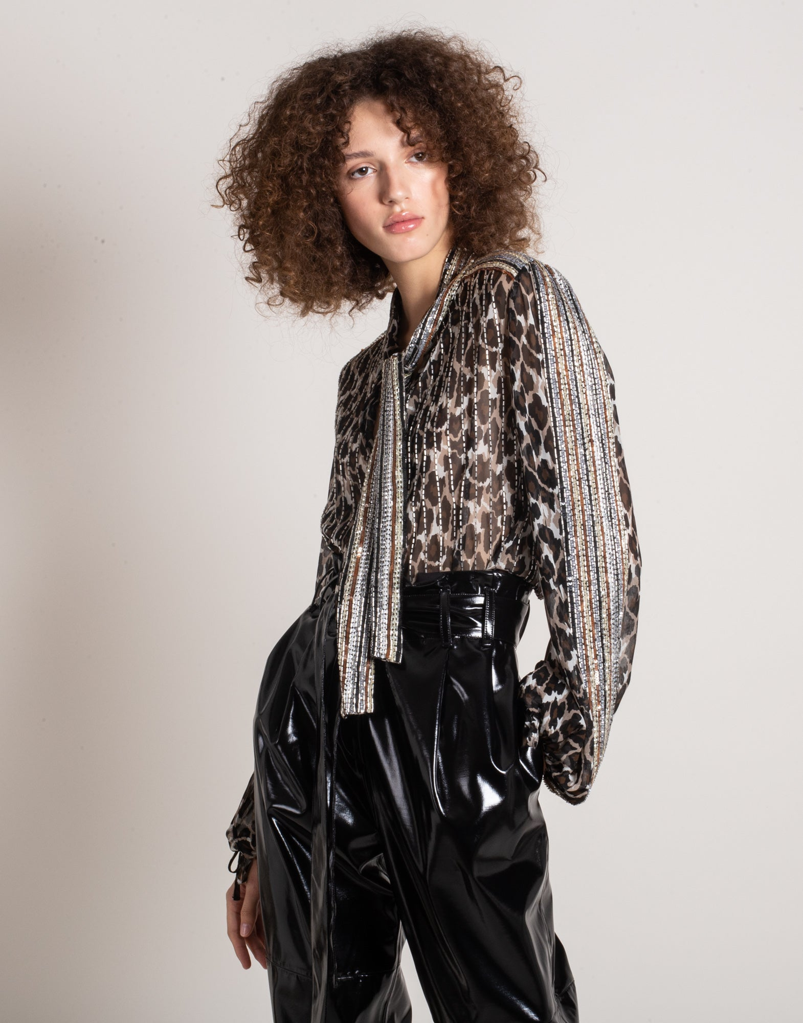 Embroidered animalier print blouse