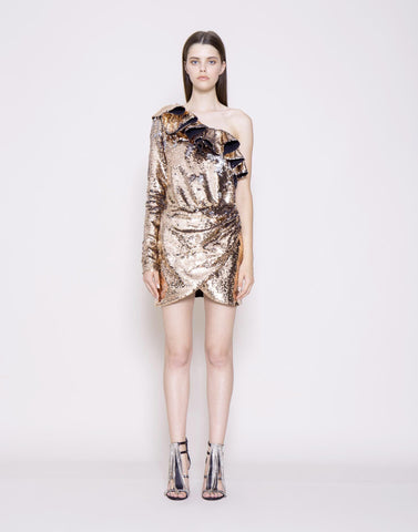Single shoulder sequin mini dress with ruffle