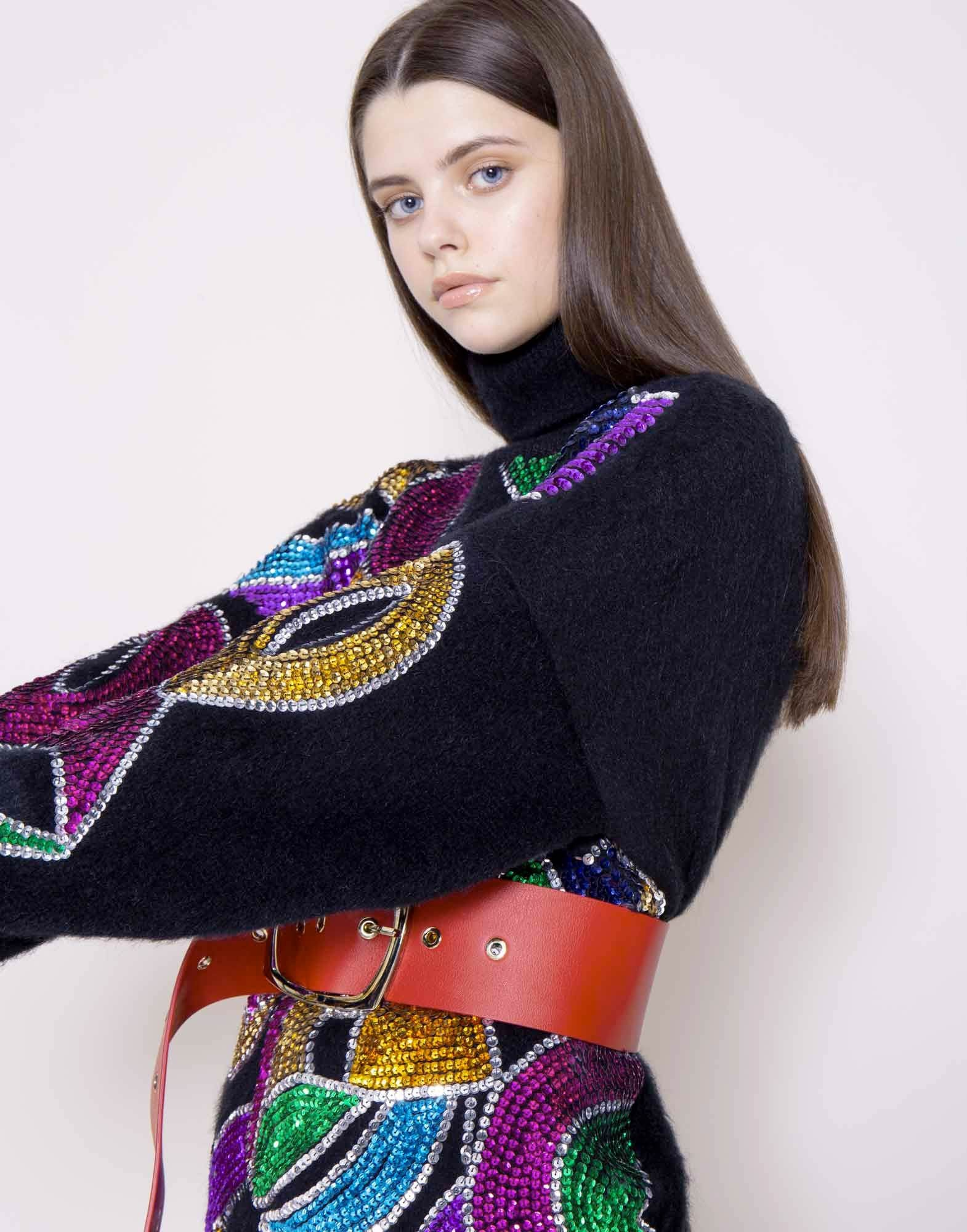 Mohair sequins turtleneck