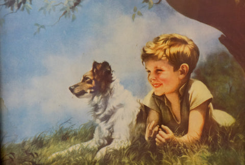Vintage mid century print of boy and dog