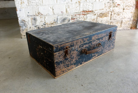 Vintage industrial distressed wood tool box