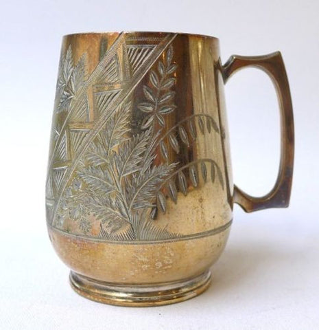 Antique Victorian silver plate ornate christening mug