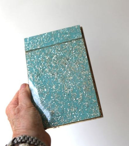 Vintage mid century teal and gold resin notepad score pad