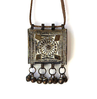 Antique rare Bedouin Yemen middle eastern tribal silver box amulet, Hirz prayer