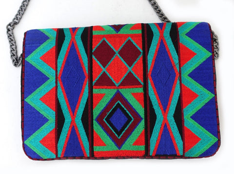 Gorman jewel tapestry clutch shoulder bag, tribal pattern tapestry bag