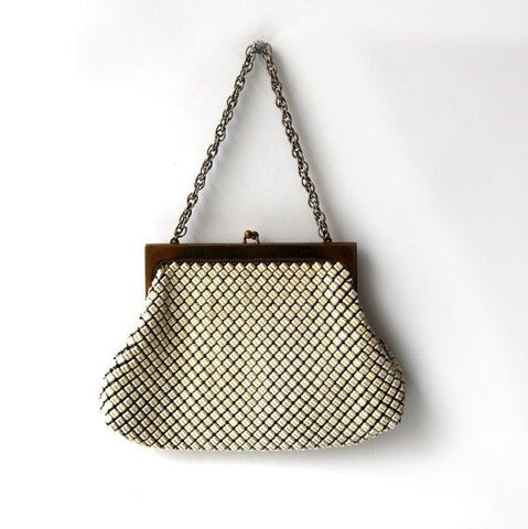 Vintage Whiting and Davis white metal mesh evening purse,  evening mesh purse