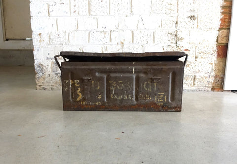 Vintage 1942 Metal Ammo Box, WWII military box, Vintage Industrial metal chest
