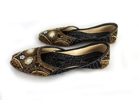 Ladies boho gold, bronze beaded and embroidered embellished velvet evening flats