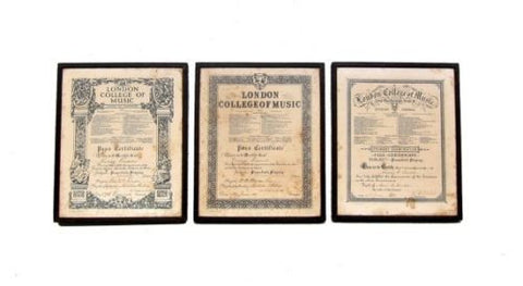Antique Framed 1920s 1930s examination certificate London College of Music