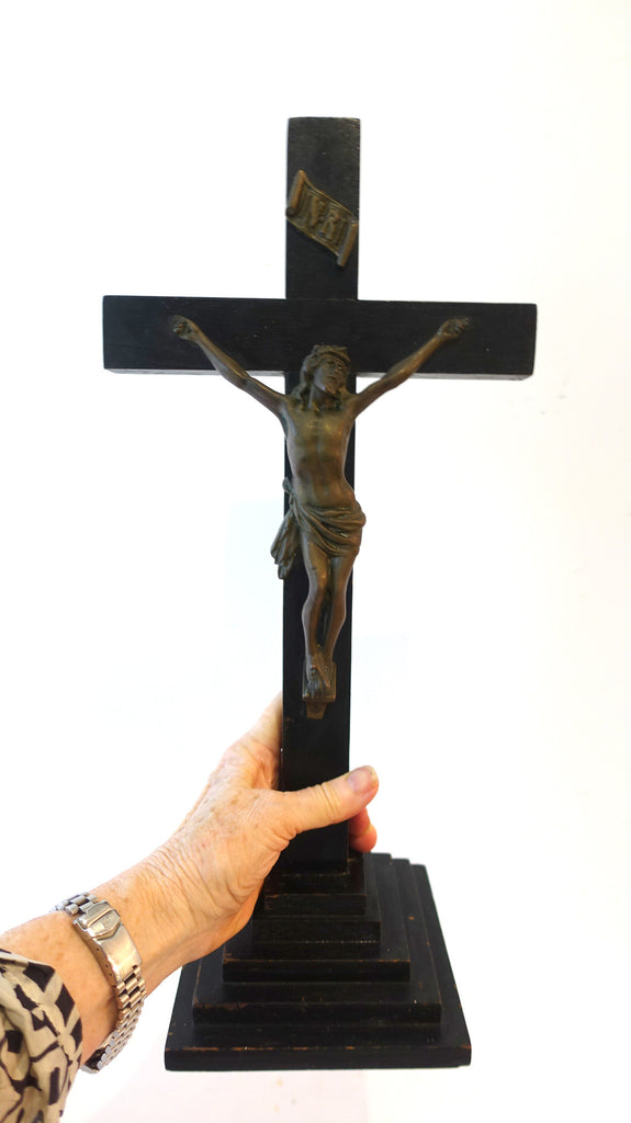 Vintage oak standing altar crucifix cross with cast brass metal jesus, large alter crucifix, religious cross