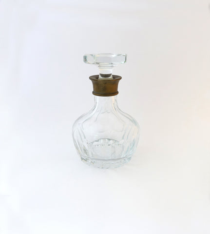 Vintage mid century heavy cut glass lead crystal decanter with brass collar
