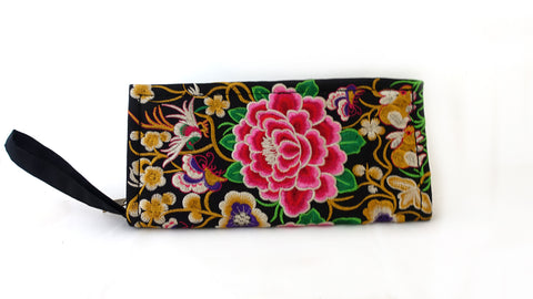 Chinese embroidered flowers clutch evening purse, boho embellished clutch