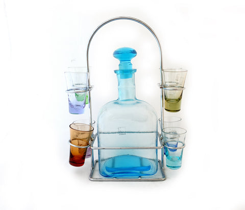 Harlequin glass decanter set with shot glasses
