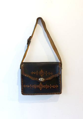 Vintage hippie boho 1970s hand tooled dark brown satchel leather bag, boho shoulder bag