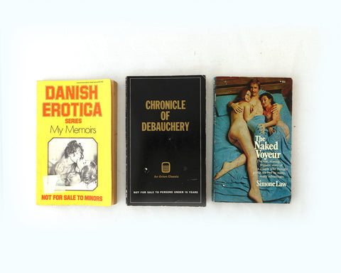 Vintage 1970s saucy erotic paperback novels, Danish Erotica, The Naked Voyeur and Chronicle of Debauchery