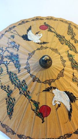 Vintage Chinese bamboo lacquered brown rice paper hand painted white crane parasol, asian decor