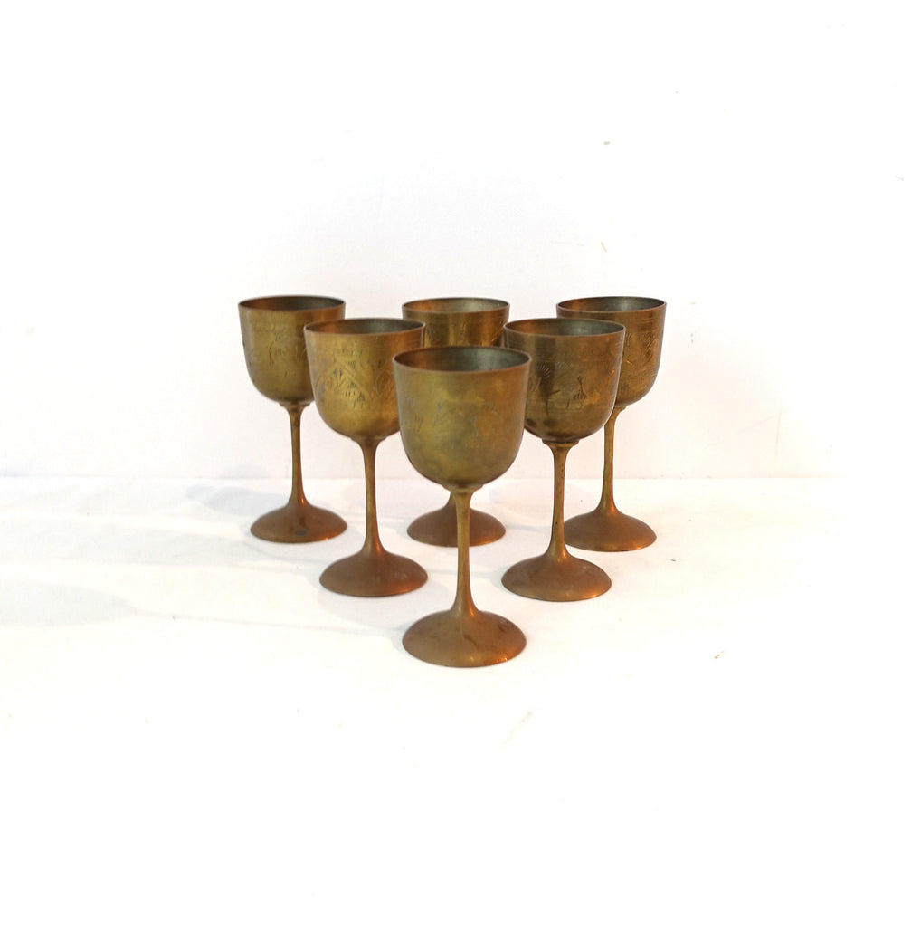 Vintage etched Indian brass wine goblets, GOT medieval goblets