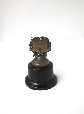 Vintage 1960s retro collectible silver plated shuttlecock shield trophy on bakelite base