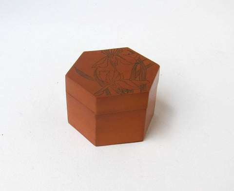 Vintage Chinese handpainted and laquered bamboo hexagonal box, bamboo tea caddy