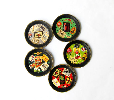 Retro bar 1950s Japanese alcohol label paper mache coaster set