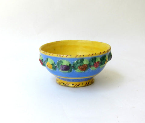 Antique art deco hand painted blue and yellow floral bowl