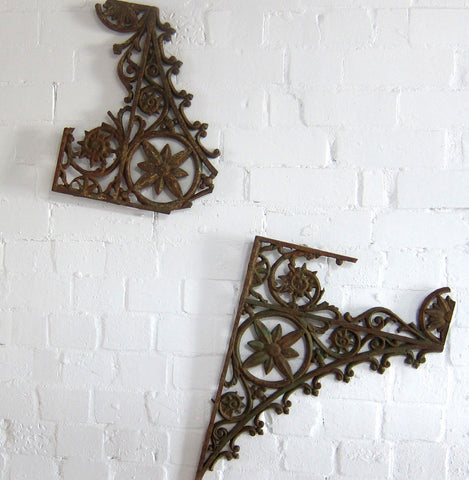 Antique 1900s cast iron verandah eaves lace work wall decoration