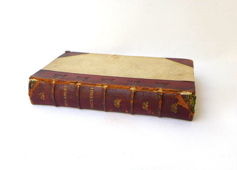 Antique 1800s leather bound gilt book of works by Miss Thackeray