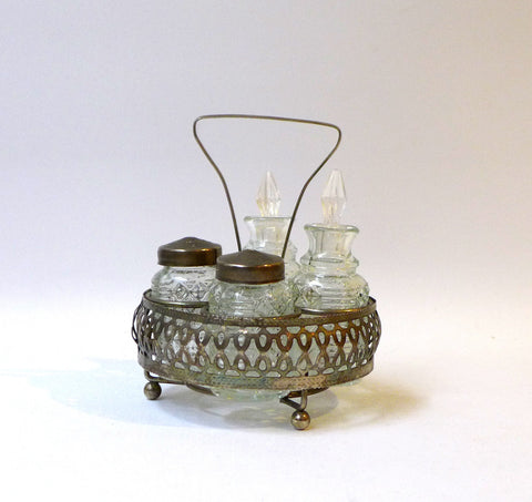 Mid century silver plate and pressed glass cruet condiment set