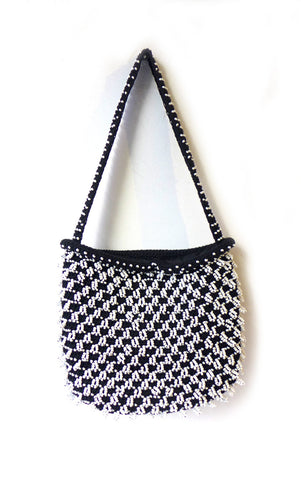 Vintage Mid century Walborg hand beaded black and white purse, retro purse, small tote