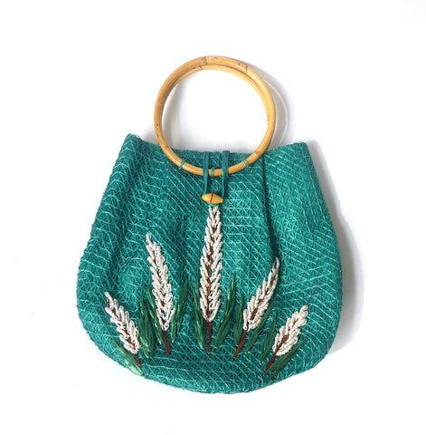 Vintage 1980s Hawaiian blue green raffia small tote