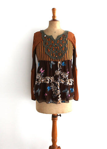 Vintage Johnson Bell boho tan and brown rhinestone and floral top sz10 AUS