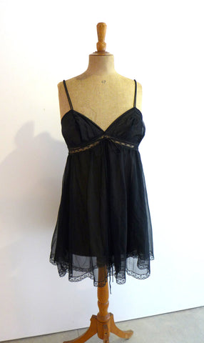 Vintage 1960s semi sheer black baby doll negligee, sexy negligee, Mad men