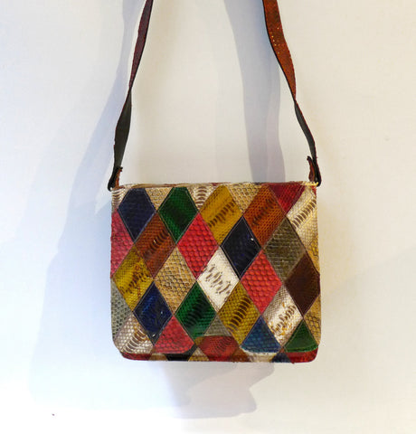 Vintage boho colourful harlequin patchwork snake skin shoulder bag