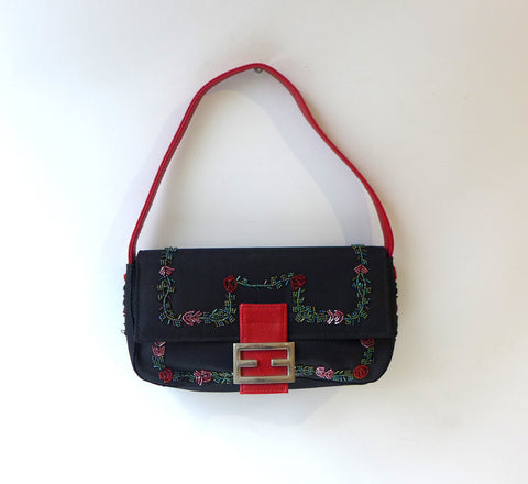 Vintage black fabric and red rose embroidered evening purse, embellished rose purse