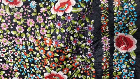 Vintage large black satin Chinese piano shawl, Canton Manton De Manila with multicolour embroidery flowers