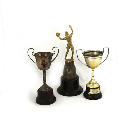 Vintage set small silver plate sporting trophies, tennis and basketball trophy