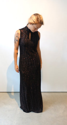 Vintage 1980s designer Ronnie Nicole black and copper sparkly evening dress