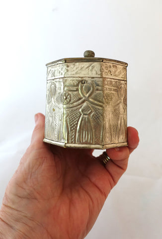 Vintage hand made repousse tribal silver plated eight sided box or tea caddy, tribal silver box