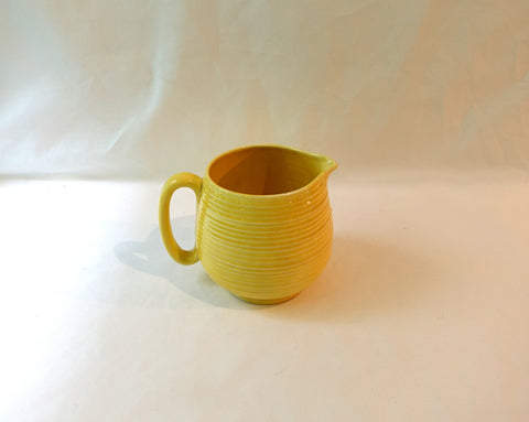 Vintage mid century Crown Ducal art deco yellow ribbed milk jug, yellow ceramic pitcher