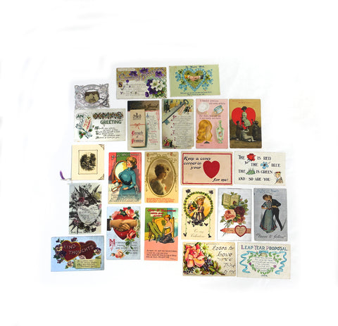 Antique Victorian Valentines Day postcard collection