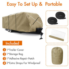 Load image into Gallery viewer, NEW Travel Trailer RV Cover Premium 300D Upgrade TAN