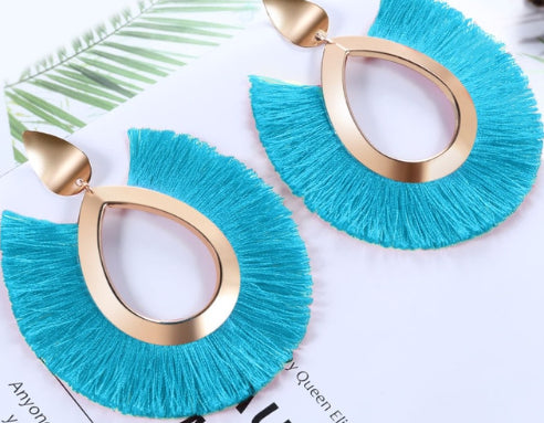 Drop Shape Tassel Earrings