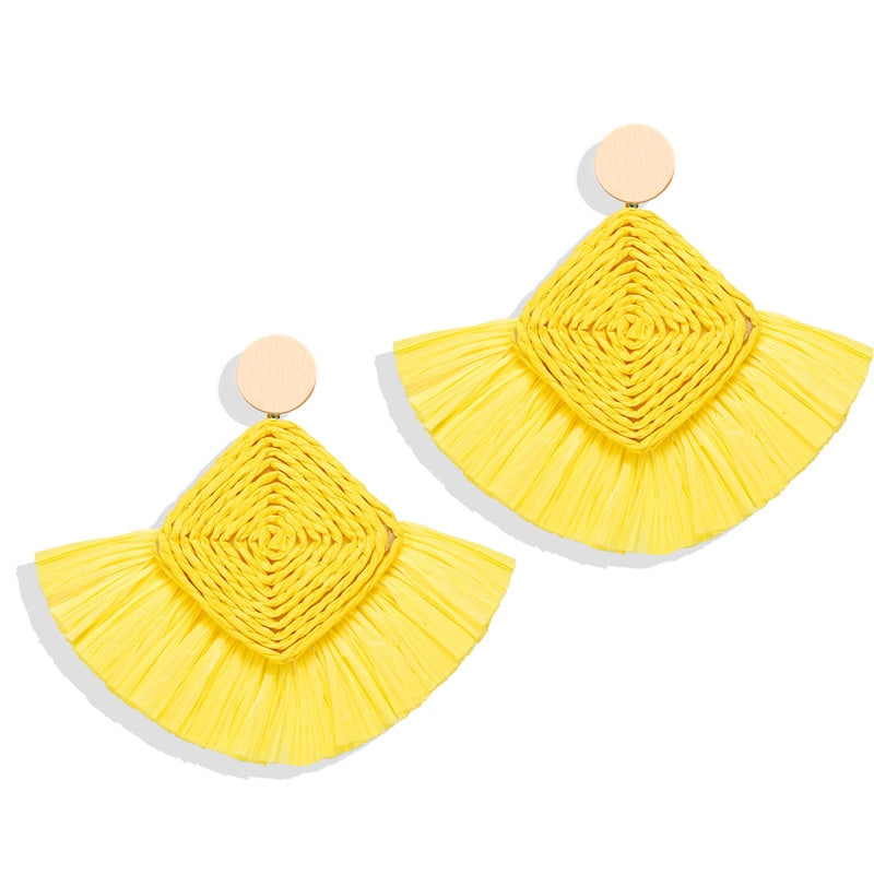 Ethnic Beige Wicker Rattan Raffia Tassel Earrings
