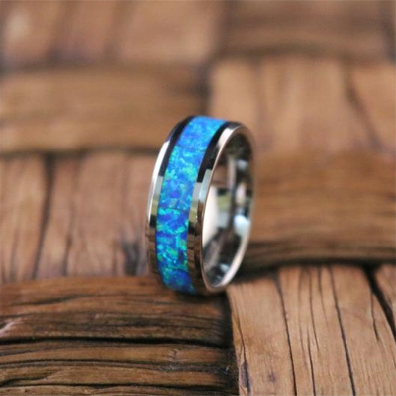 Blue Fire Opal Stainless Steel Men Rings