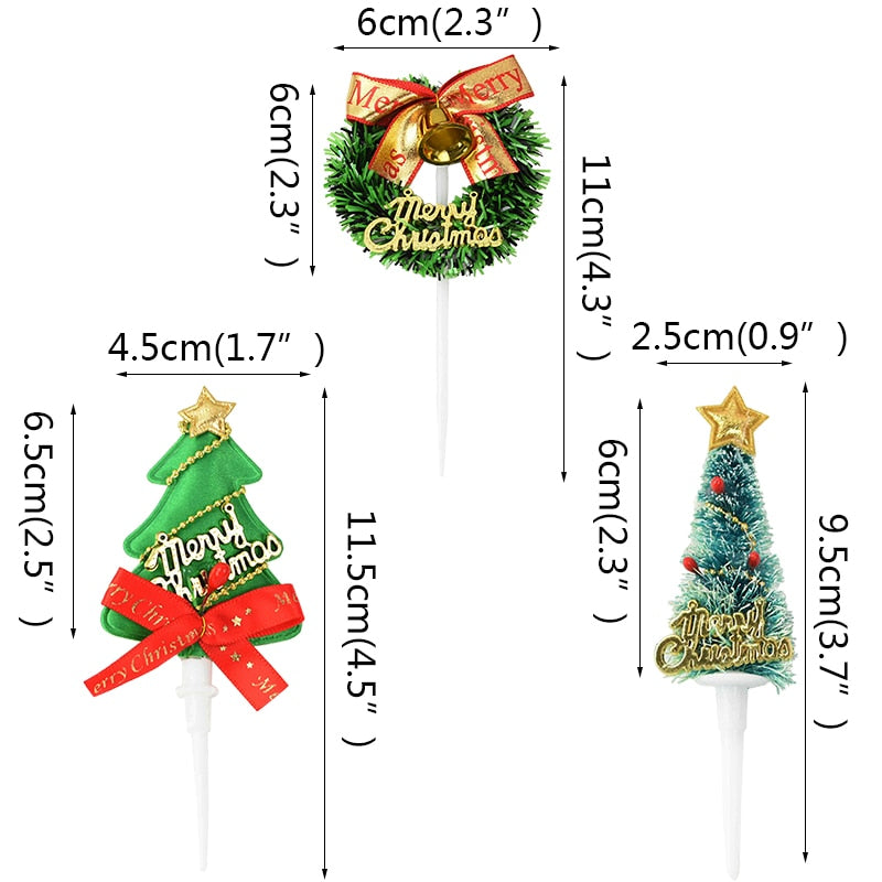 Mini Wreath Xmas Tree Cupcake Toppers