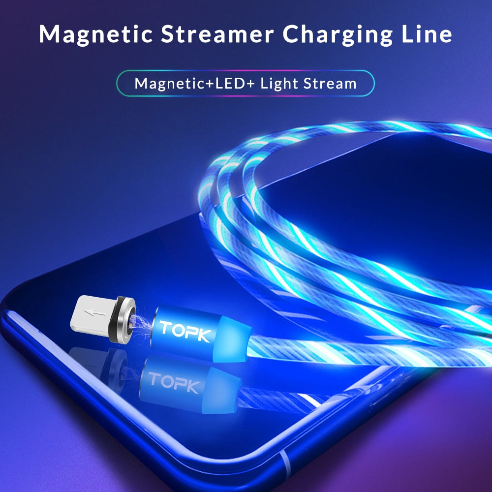 LED Flow Glow Lighting Magnetic USB Cable