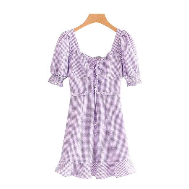 Vintage Show Thin Drape Pull Rope Bubble Sleeve Dress