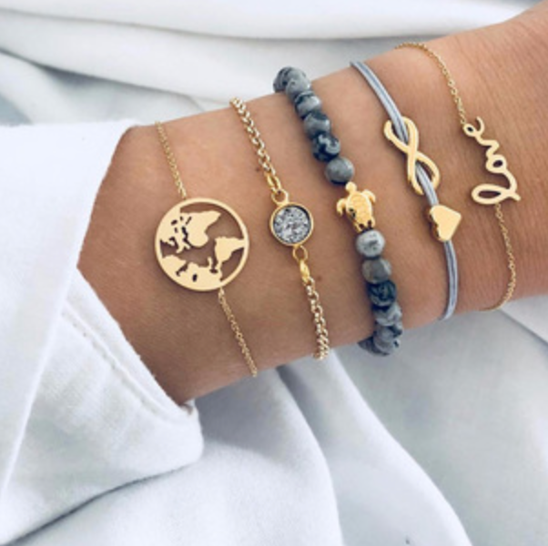 5 Pcs Gold And Blue Bracelets
