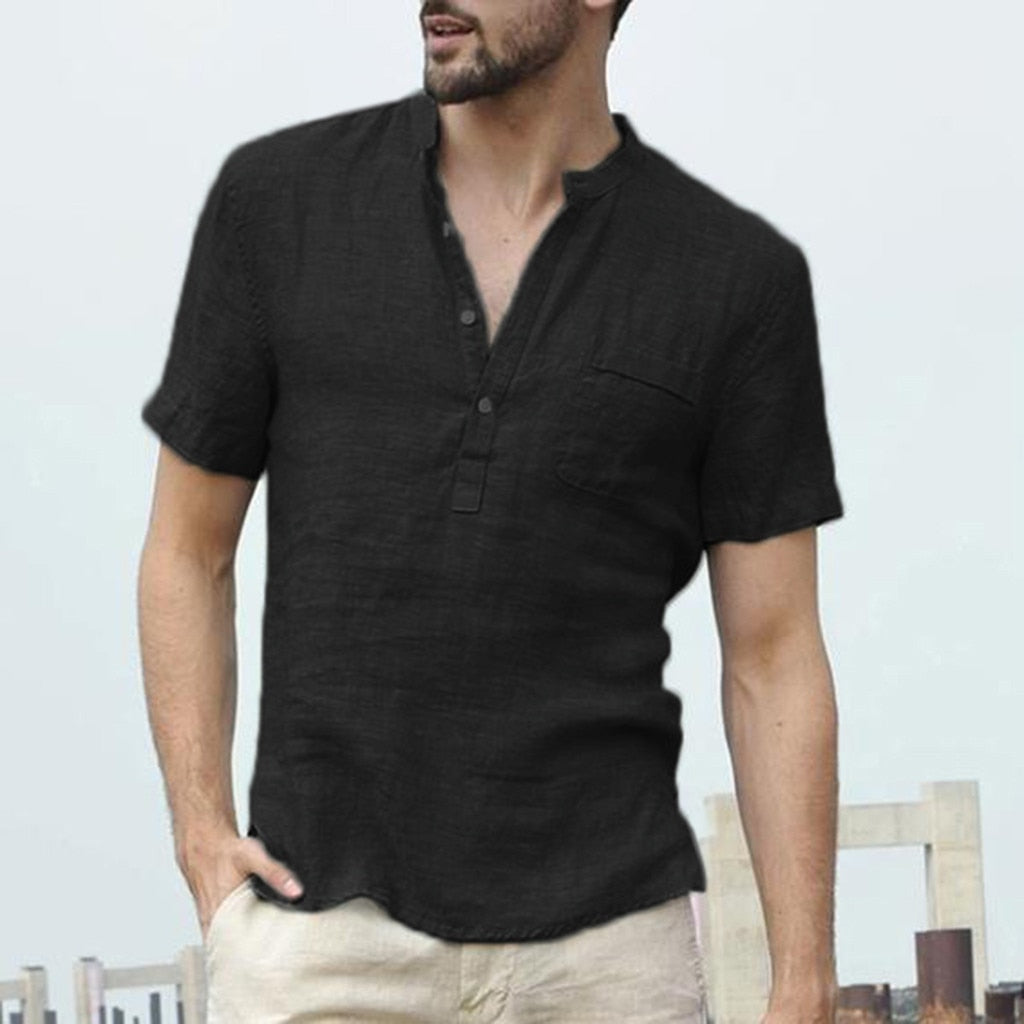 Baggy Cotton Linen Men Short Sleeve Retro Shirts