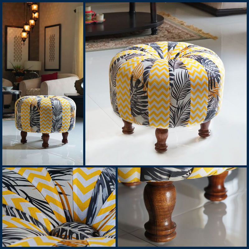 colorful sheesham havannah ottoman used in pakistani living room and drawing room, SKU is OT2